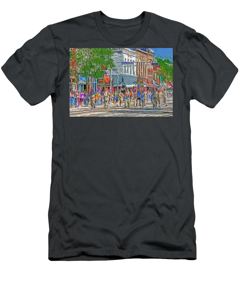 Parade Men's T-Shirt (Athletic Fit) featuring the digital art July 4th Color Guard by Trey Foerster