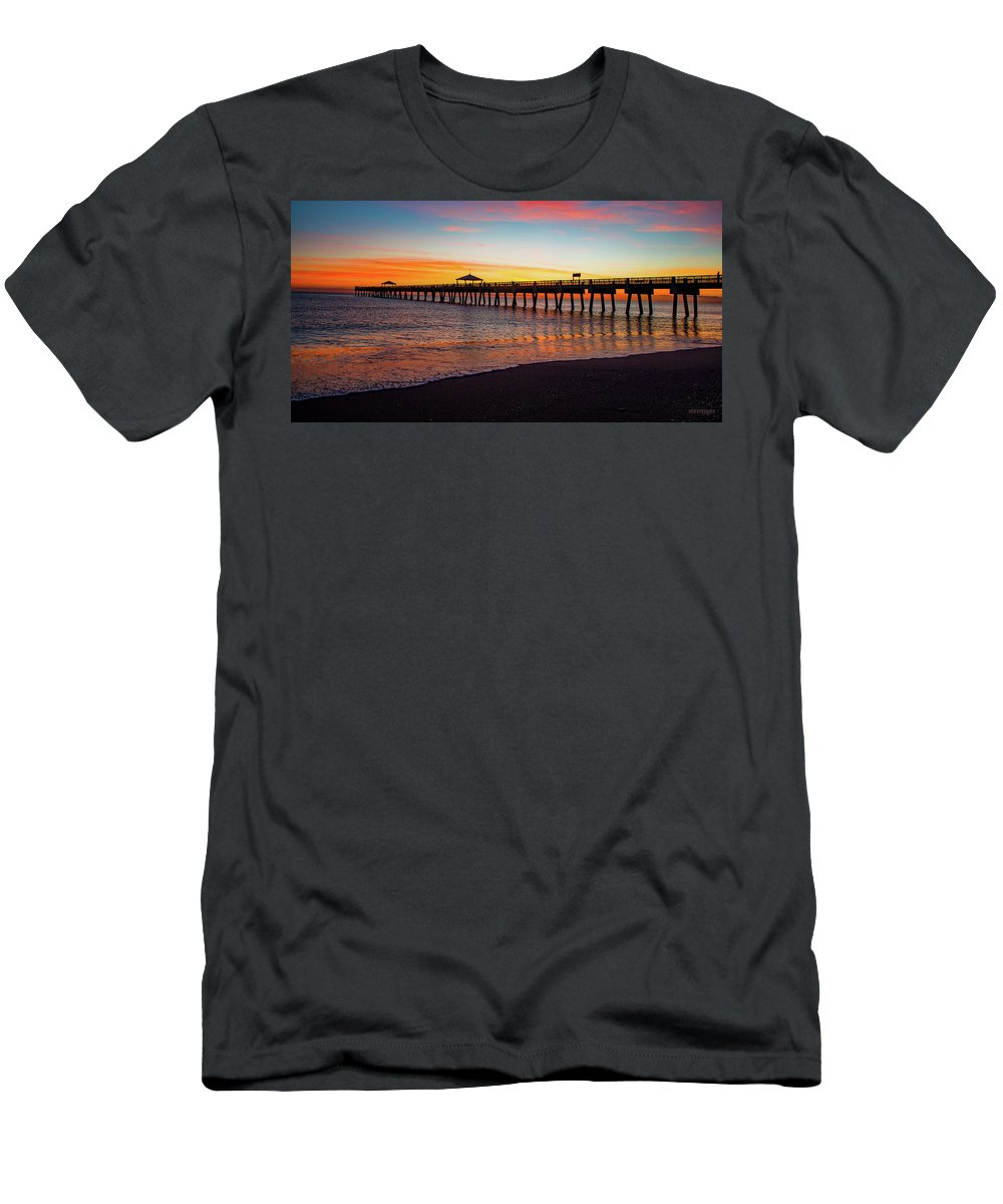 Delray Men's T-Shirt (Athletic Fit) featuring the painting Juno Pier Colorful Sunrise Panoramic by Ken Figurski