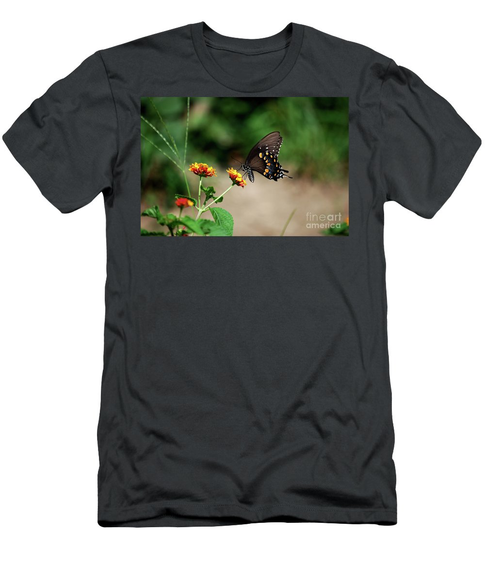 Swallowtail Men's T-Shirt (Athletic Fit) featuring the photograph Just Me And My Flower by Lori Tambakis