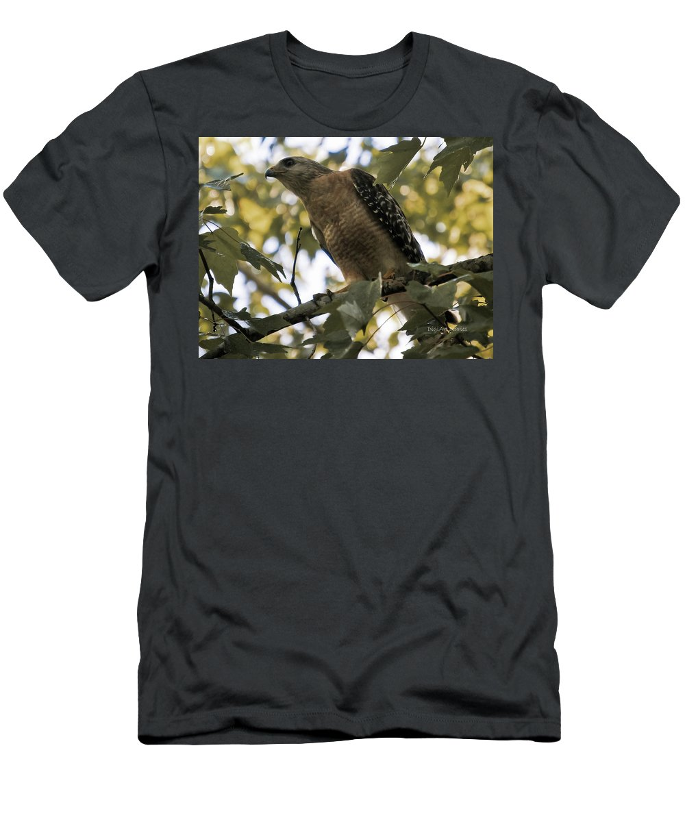 Red Shouldered Hawk Men's T-Shirt (Athletic Fit) featuring the photograph Just Spotted Dinner by DigiArt Diaries by Vicky B Fuller