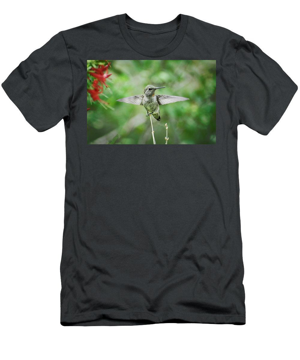 Hummingbird Men's T-Shirt (Athletic Fit) featuring the photograph Just Spread Your Wings by Saija Lehtonen