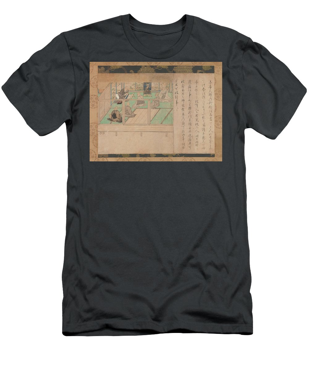 Kamakura Period  Illustrated Biography Of Hnen Shikotokden E Men's T-Shirt (Athletic Fit) featuring the digital art Kamakura Period  Illustrated Biography Of Hnen Shikotokden E by Anne Pool