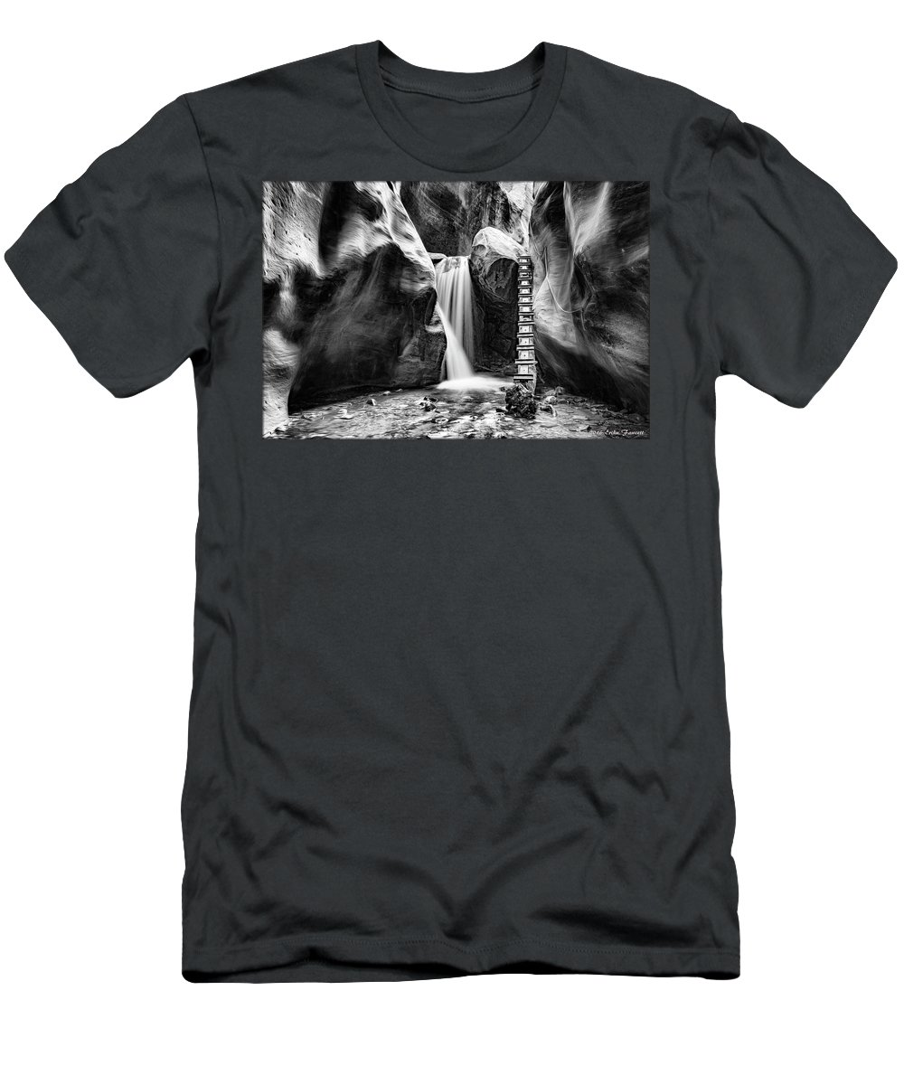 Kanarraville Falls Men's T-Shirt (Athletic Fit) featuring the photograph Kanarraville Falls Bw by Erika Fawcett