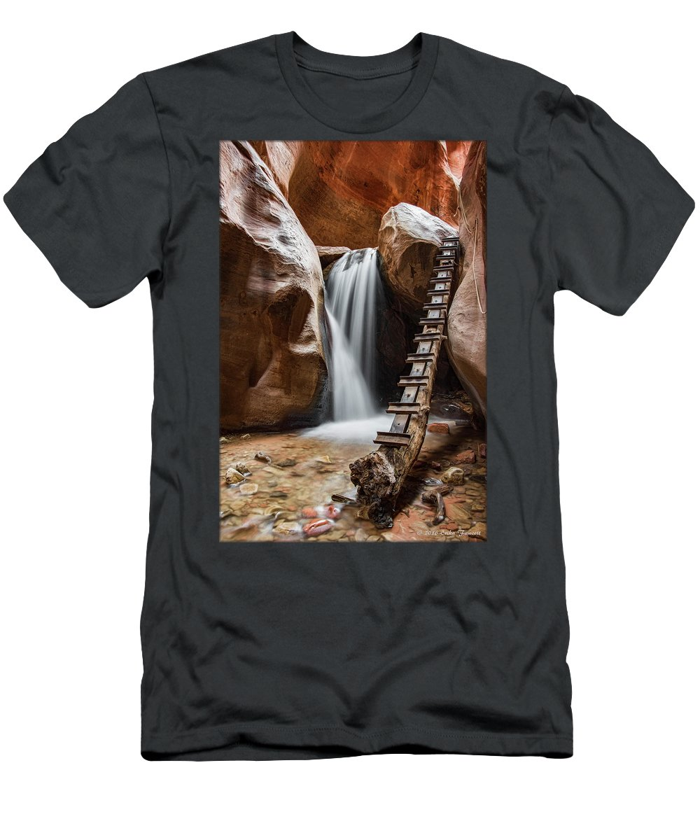 Waterfall Men's T-Shirt (Athletic Fit) featuring the photograph Kanarraville Falls by Erika Fawcett