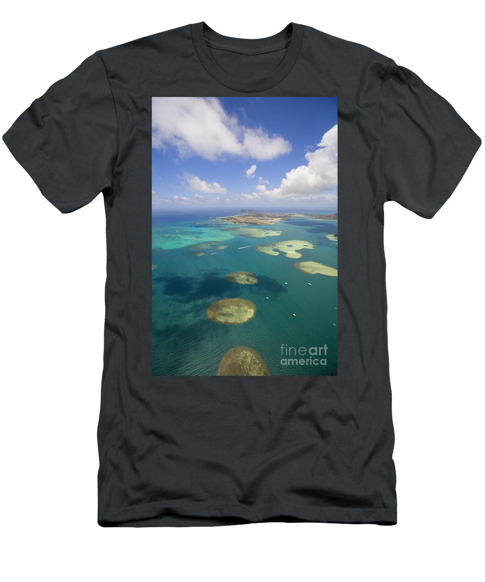 Above Men's T-Shirt (Athletic Fit) featuring the photograph Kaneohe Sandbar by Ron Dahlquist - Printscapes