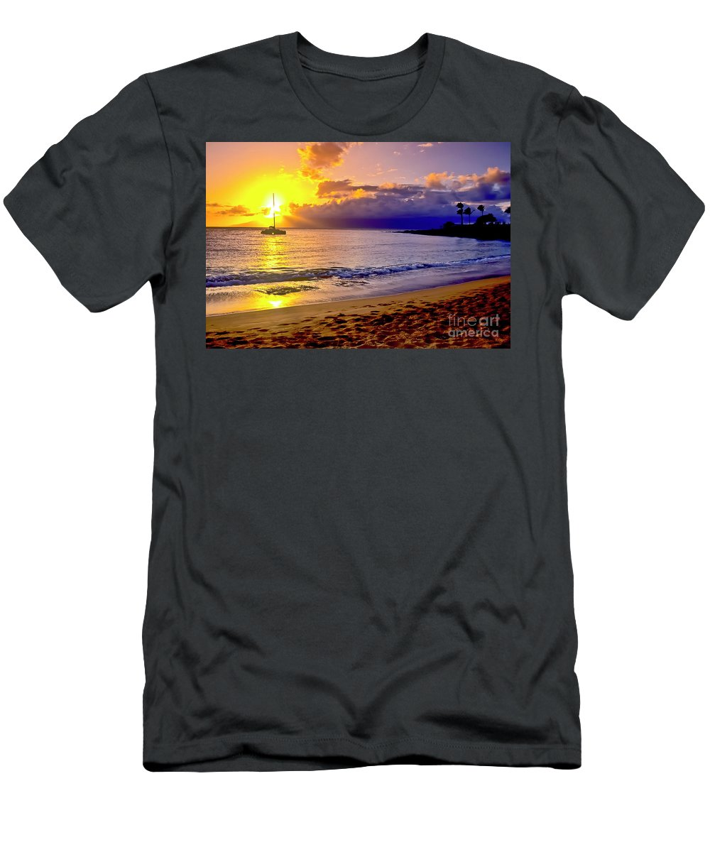 Scenics Men's T-Shirt (Athletic Fit) featuring the photograph Kapalua Bay Sunset by Jim Cazel