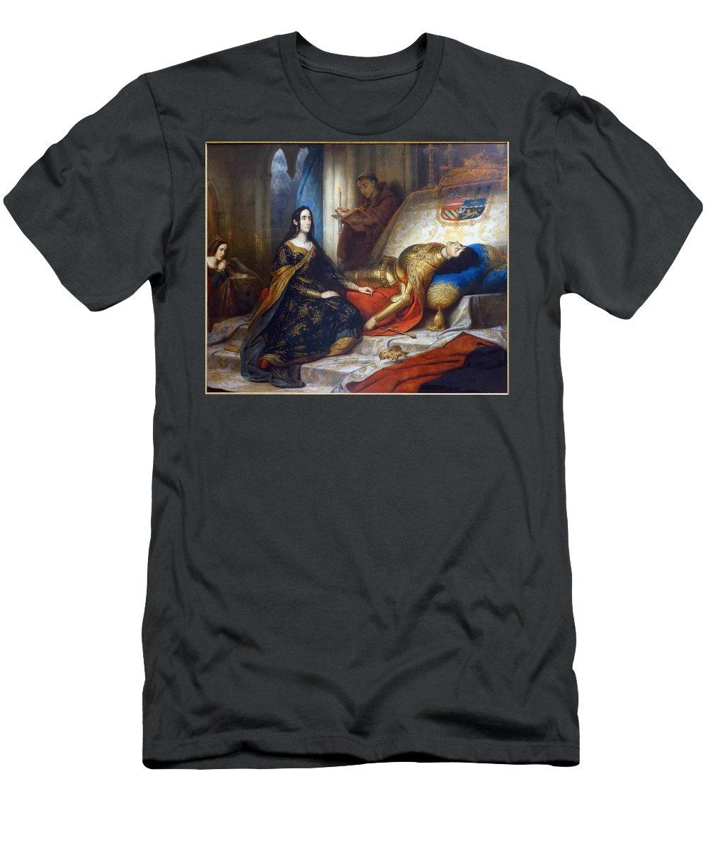 Jeanne La Folle Veille Son �poux Karl Von Steuben. Painting Men's T-Shirt (Athletic Fit) featuring the painting Karl Von Steuben by MotionAge Designs
