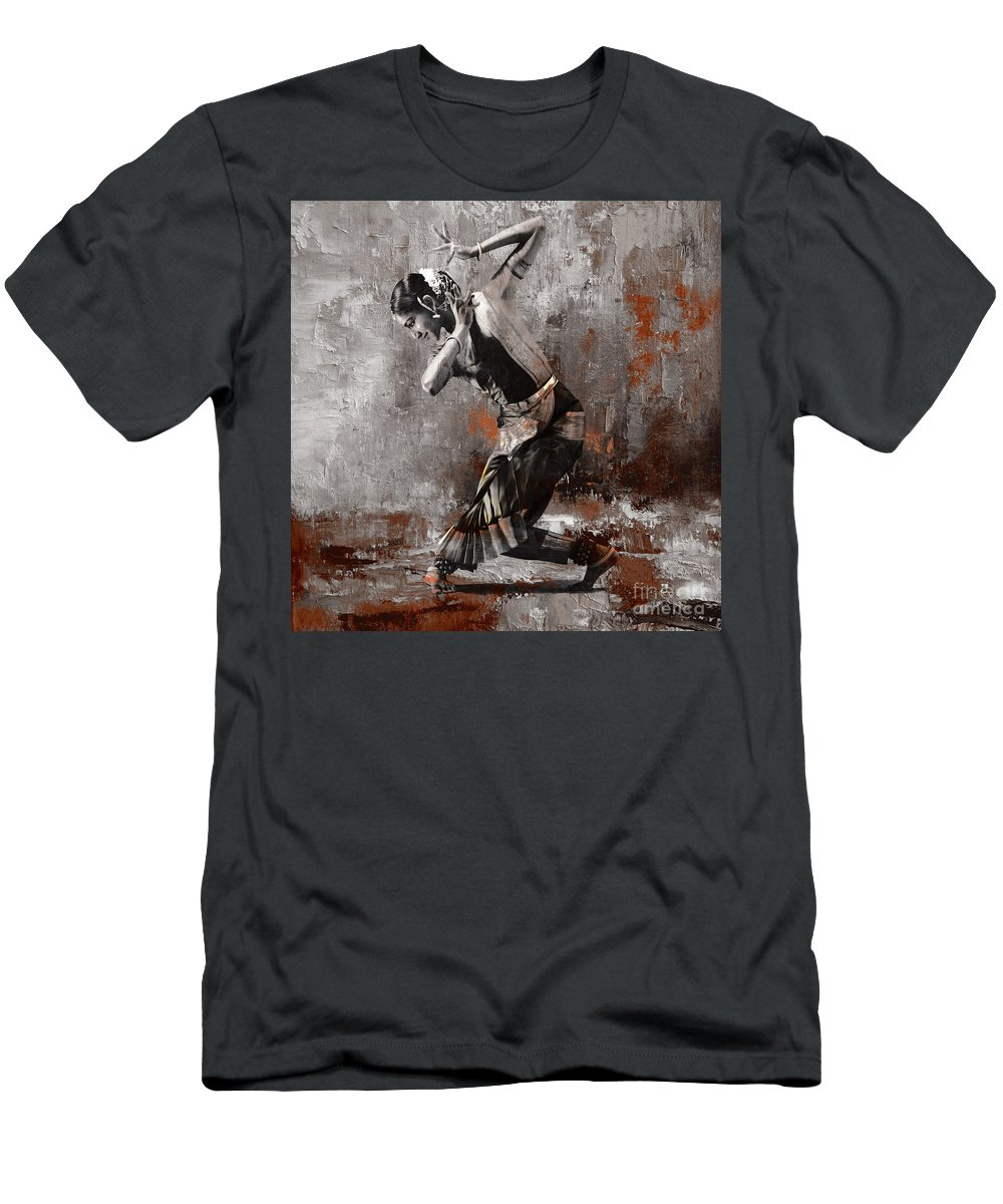 Dancer Men's T-Shirt (Athletic Fit) featuring the painting Kathak Dancer A1 by Gull G