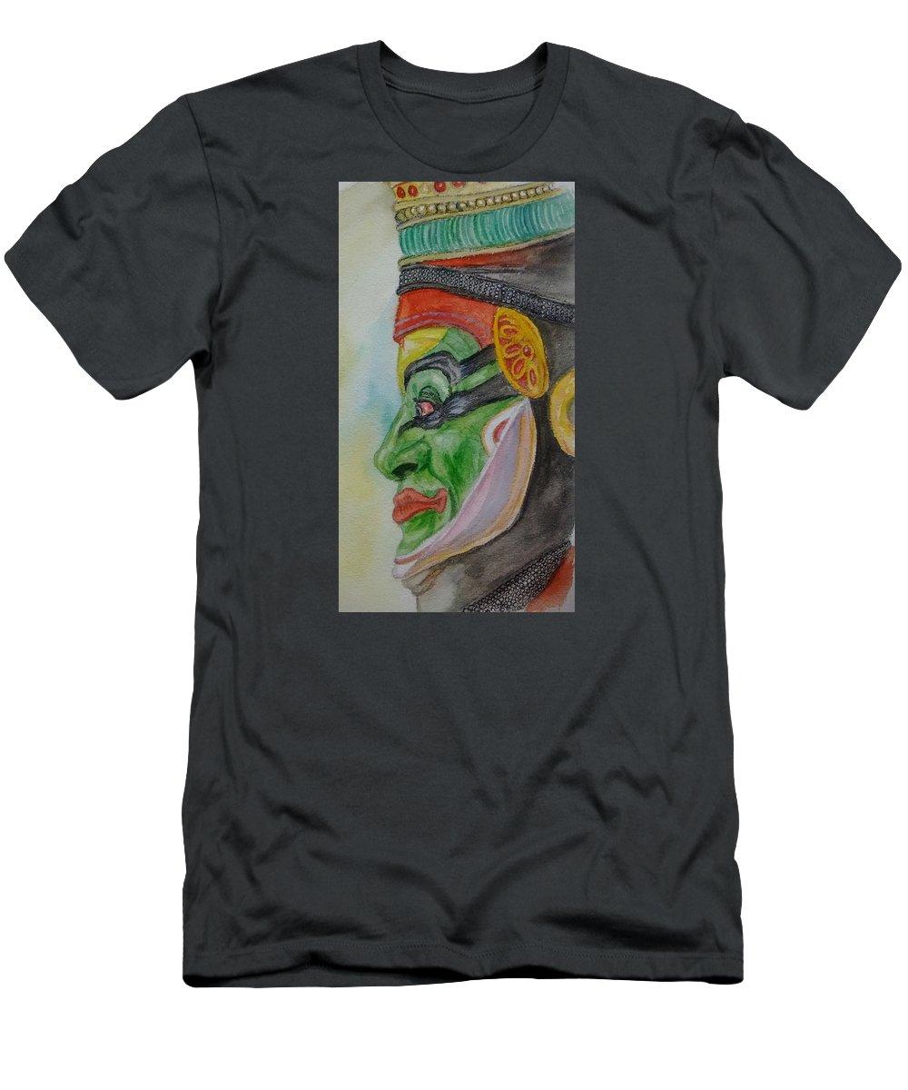 Kathakali Dancer Men's T-Shirt (Athletic Fit) featuring the painting Kathakali Dancer by Nitin Chaudhari