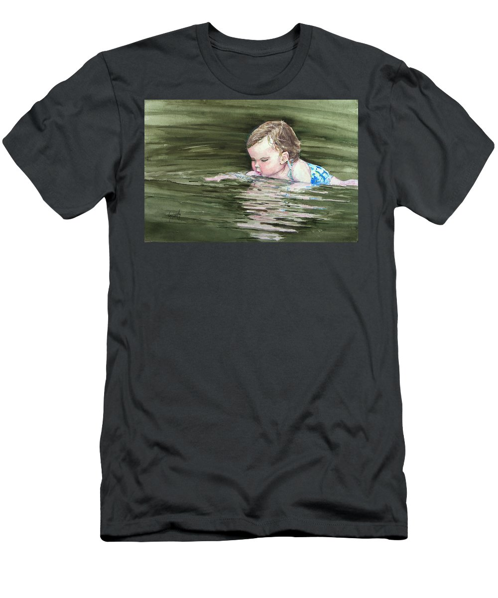 Child In River Men's T-Shirt (Athletic Fit) featuring the painting Katie Wants A River Rock by Sam Sidders