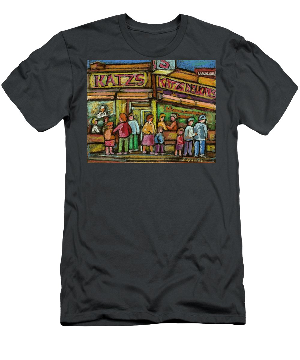 Katzs Delicatessen Men's T-Shirt (Athletic Fit) featuring the painting Katzs Delicatessan New York by Carole Spandau