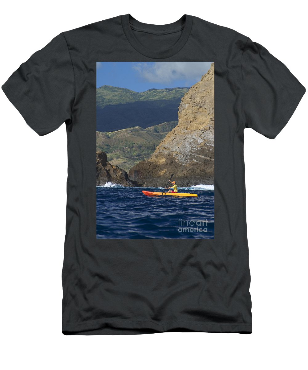 Boat Men's T-Shirt (Athletic Fit) featuring the photograph Kayaking In Molokai by Dave Fleetham - Printscapes