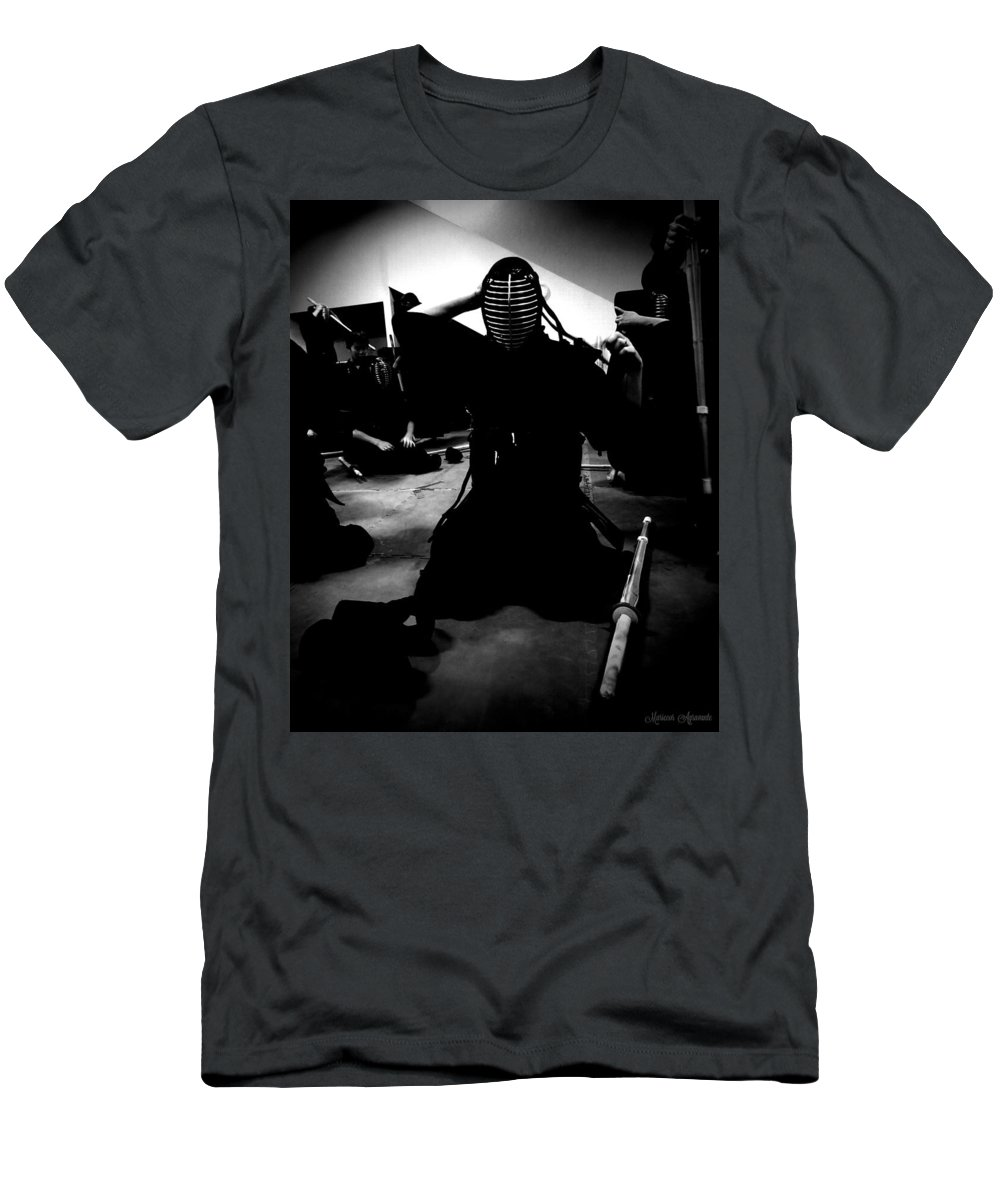Kendo Men's T-Shirt (Athletic Fit) featuring the photograph Kendo - Suiting Up For Examination by Mariecor Agravante