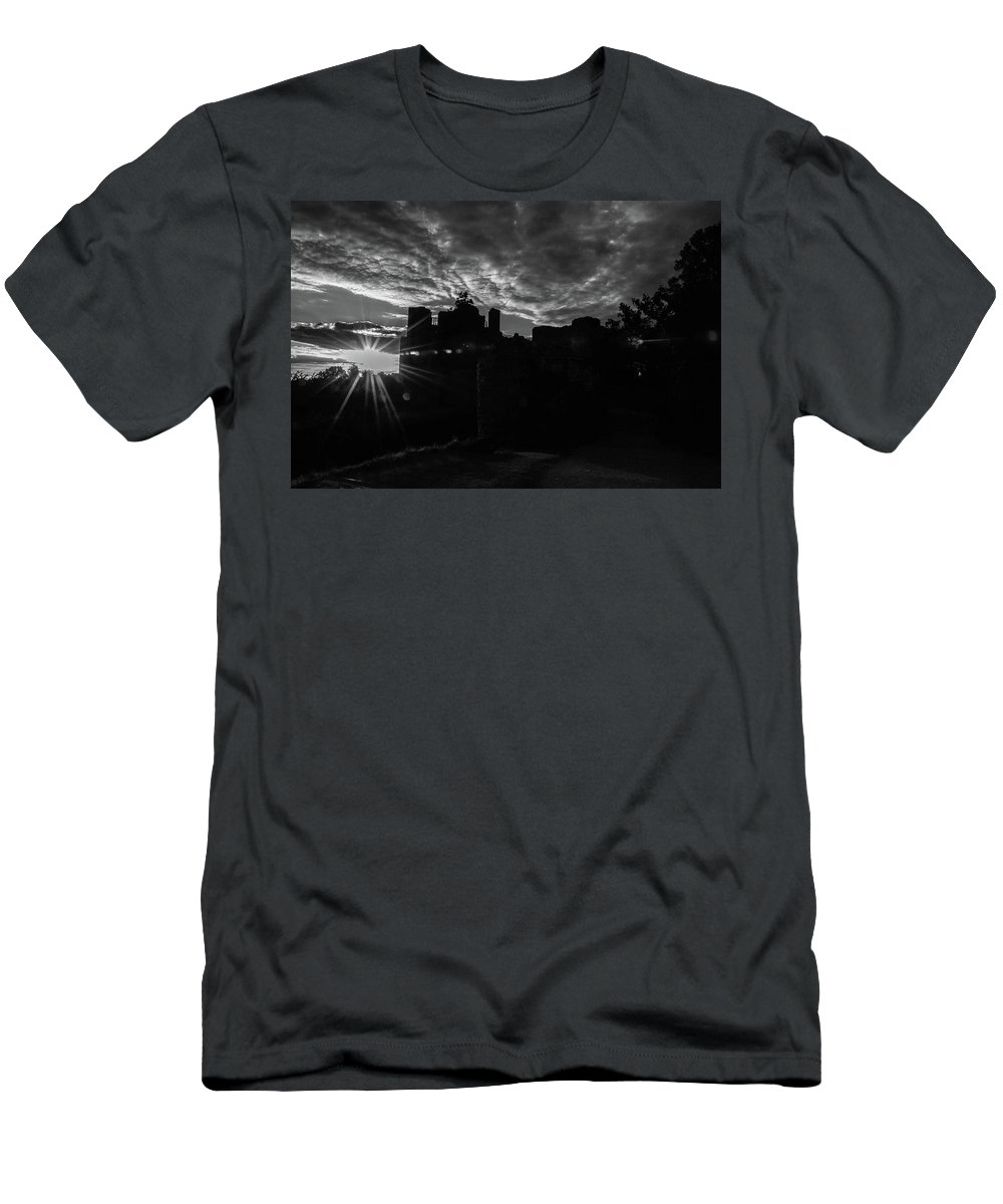 B&w Men's T-Shirt (Athletic Fit) featuring the photograph Kenilworth Castle 9 by Sol Revolver