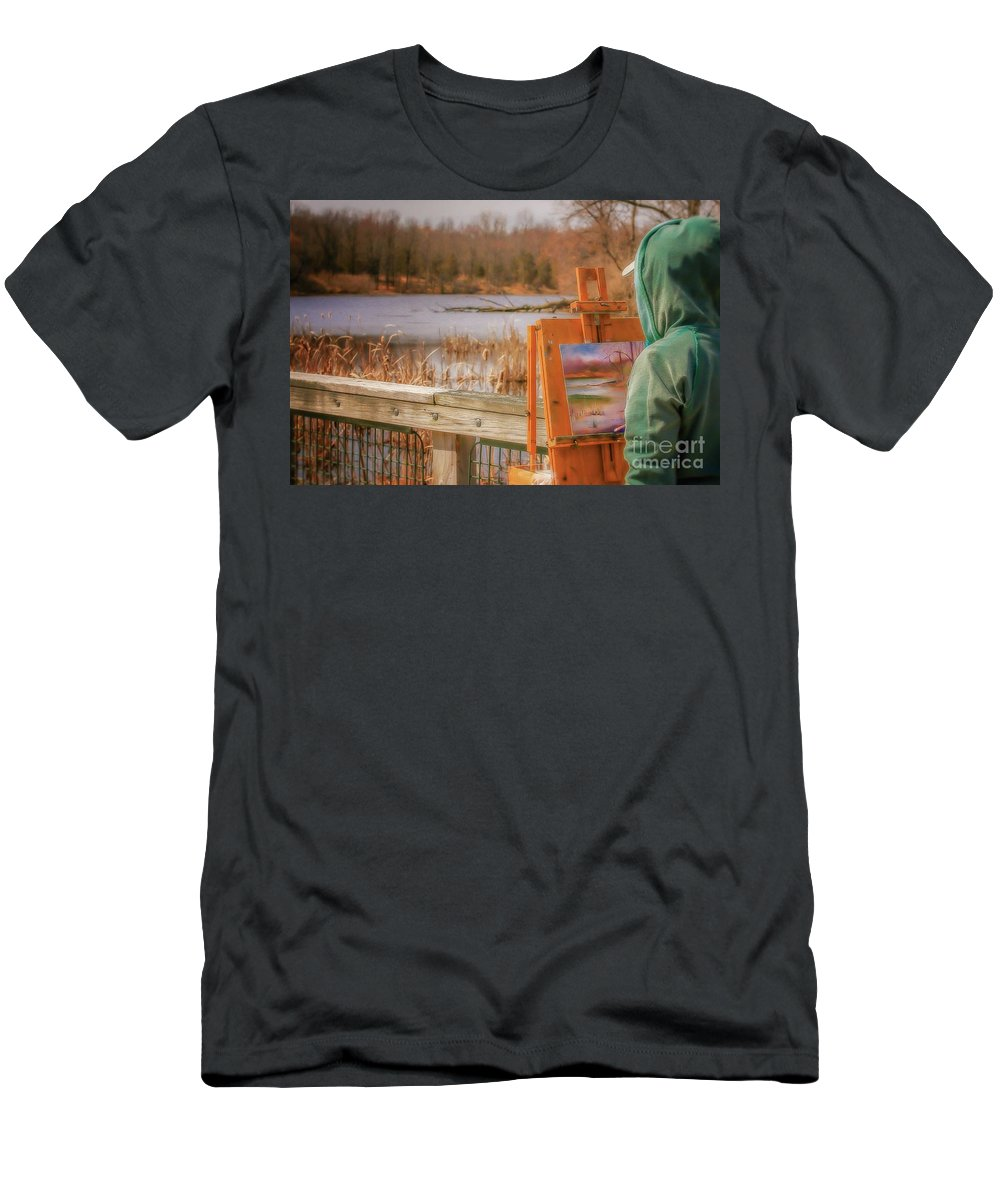 Painter Men's T-Shirt (Athletic Fit) featuring the photograph Kensington Morning by Susan Grube
