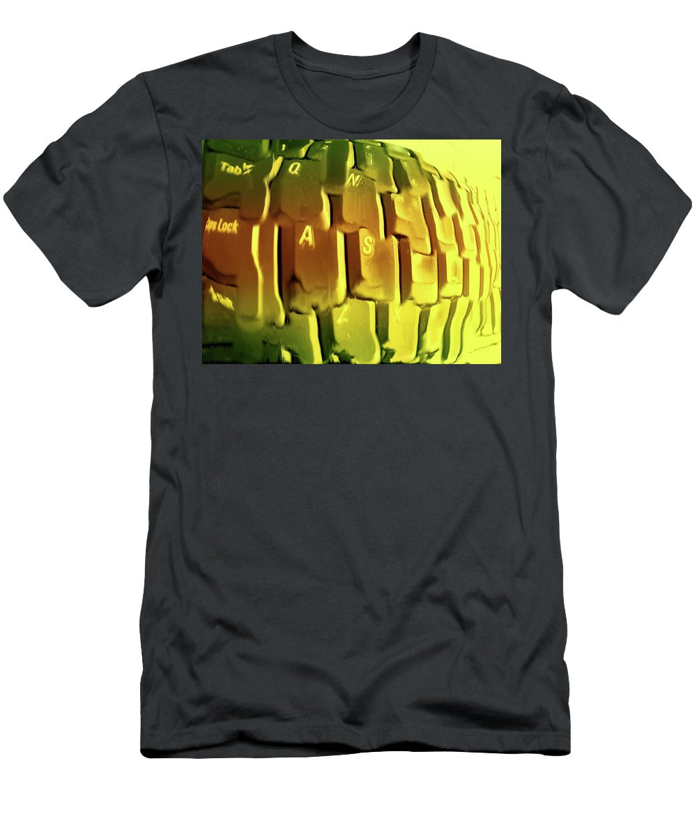 Computer Men's T-Shirt (Athletic Fit) featuring the photograph Keyboard Fried by Ian MacDonald