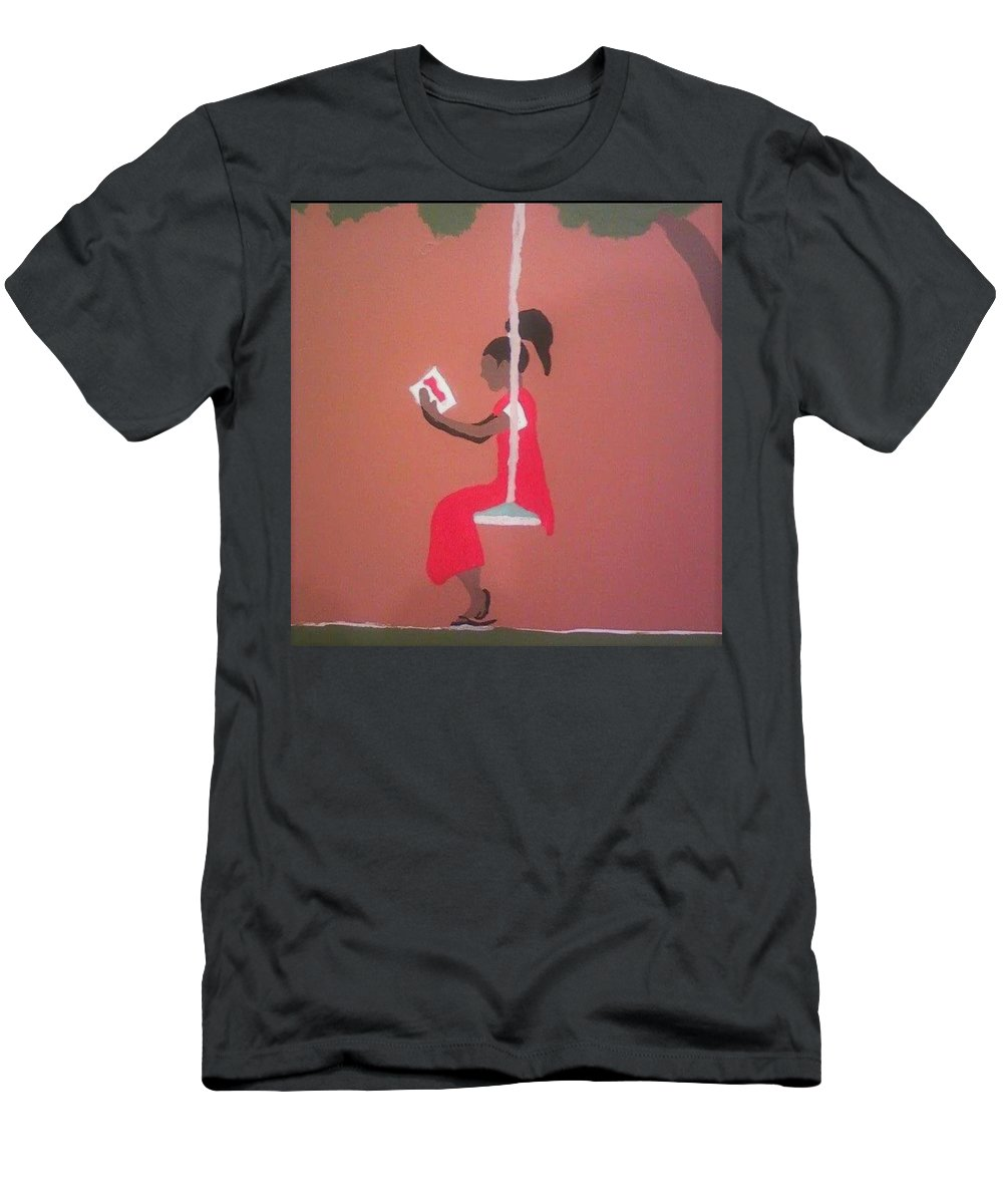 Black Art Men's T-Shirt (Athletic Fit) featuring the painting Kianas Twilight by Demarco Kelly