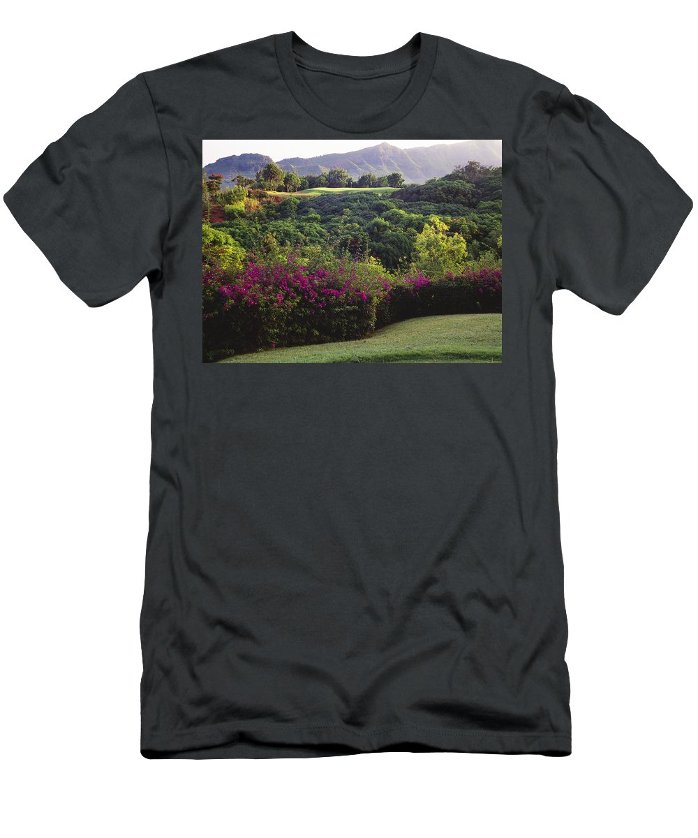 Bright Men's T-Shirt (Athletic Fit) featuring the photograph Kiele Course, Flowers And Vegetation by Carl Shaneff - Printscapes