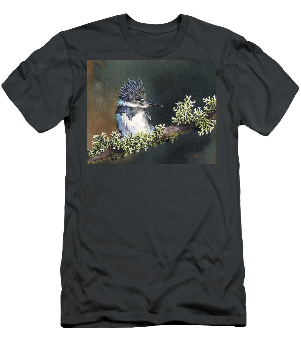 Bird Men's T-Shirt (Athletic Fit) featuring the painting Kingfisher II by Greg and Linda Halom