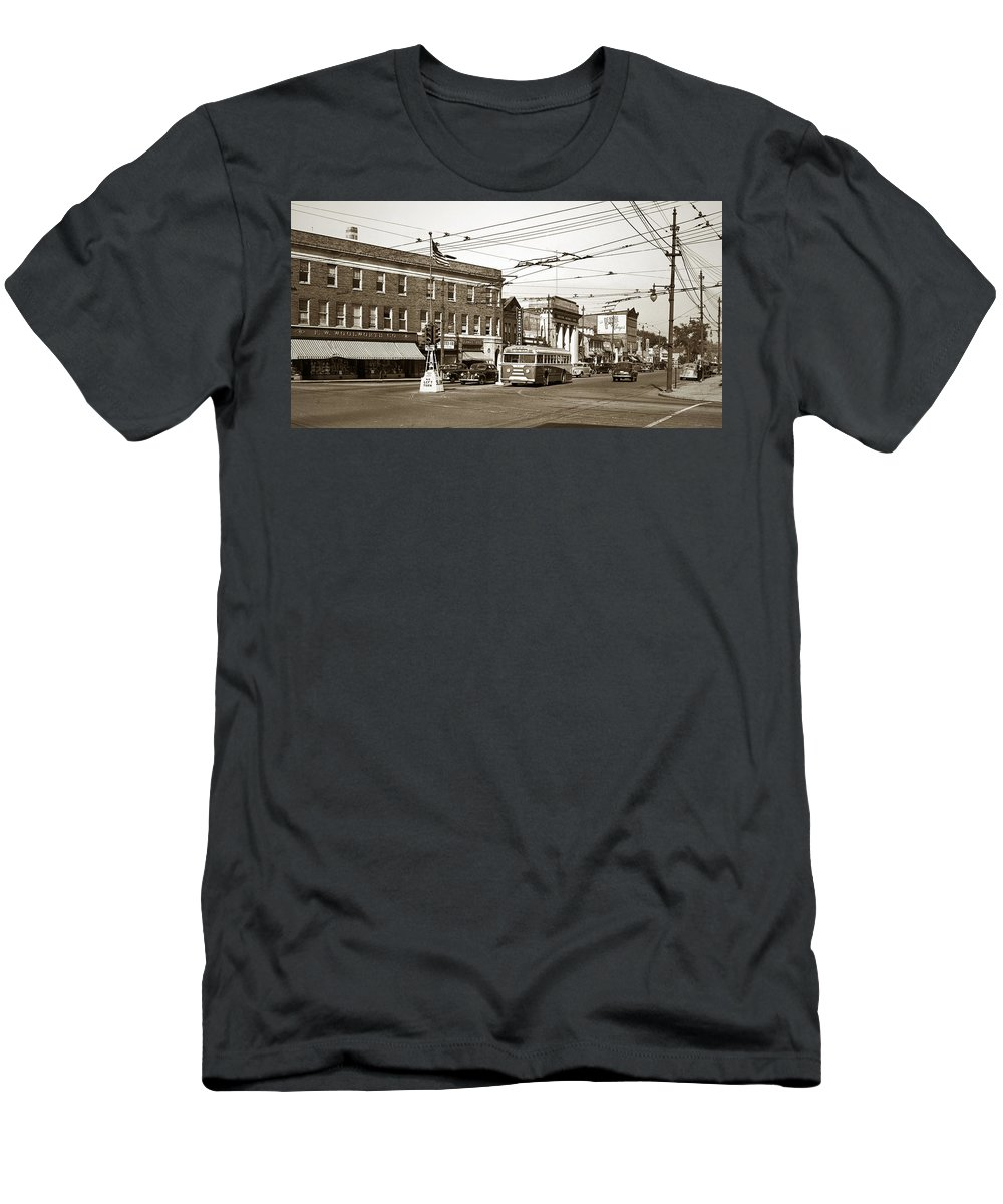 Kingston Corners Men's T-Shirt (Athletic Fit) featuring the photograph Kingston Corners Kingston Pa Early 1950s by Arthur Miller