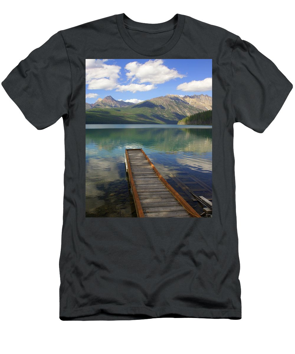 Glacier National Park Men's T-Shirt (Athletic Fit) featuring the photograph Kintla Lake Dock by Marty Koch