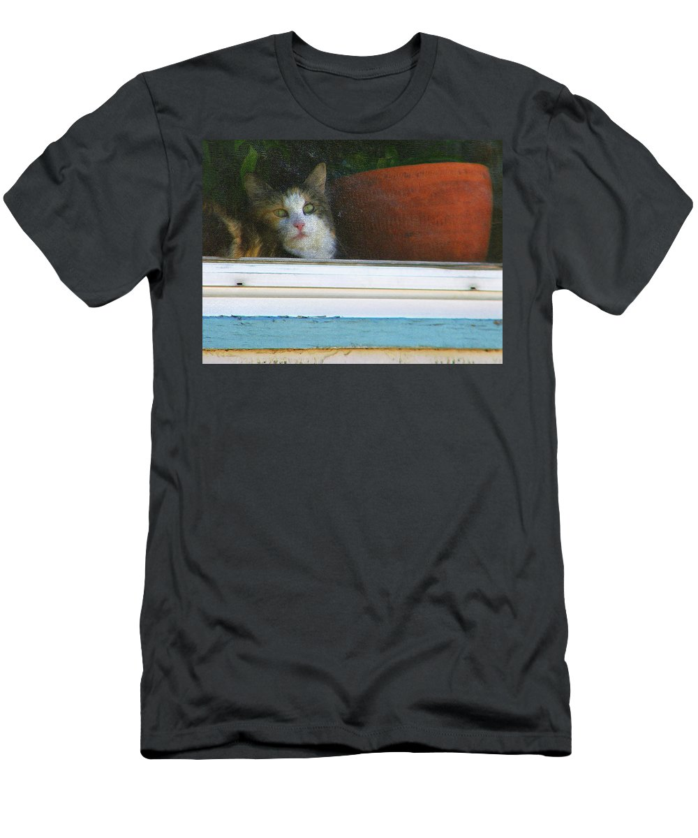 Abstract Men's T-Shirt (Athletic Fit) featuring the photograph Kitten In The Window 2 by Lenore Senior