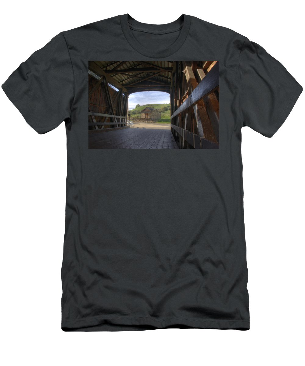 Knights Ferry Men's T-Shirt (Athletic Fit) featuring the photograph Knights Ferry Covered Bridge by Jim And Emily Bush
