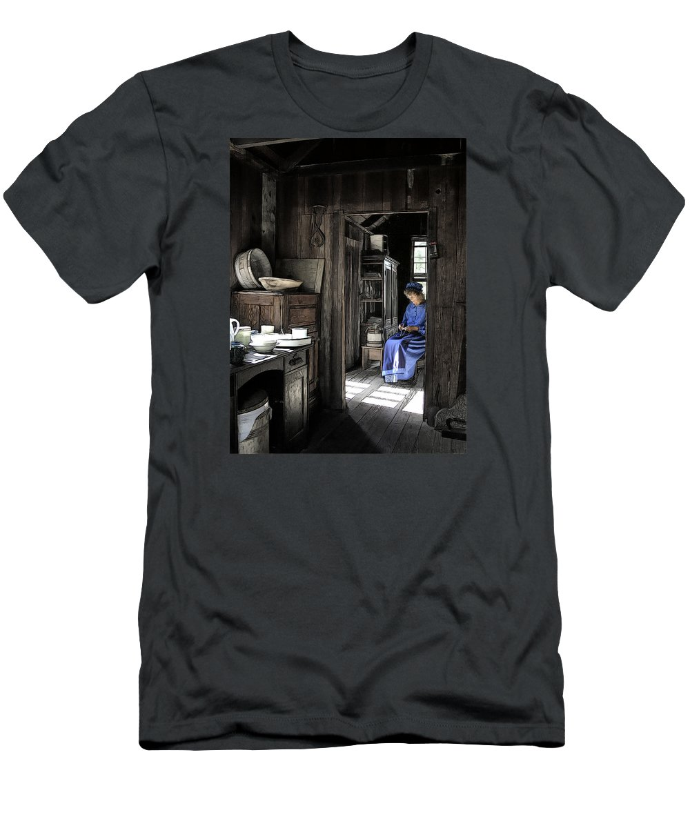 People Men's T-Shirt (Athletic Fit) featuring the photograph Knitting Room by Bruce Bouley
