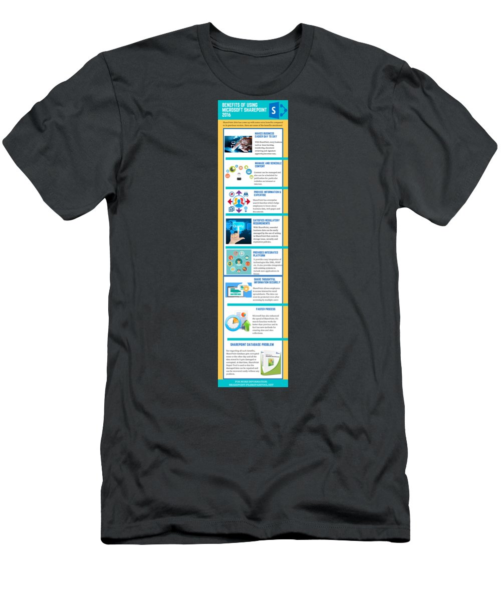 Sharepoint 2016 T-Shirt featuring the digital art Know About The Benefits Of Using Microsoft Sharepoint 201 by Edwards Paul