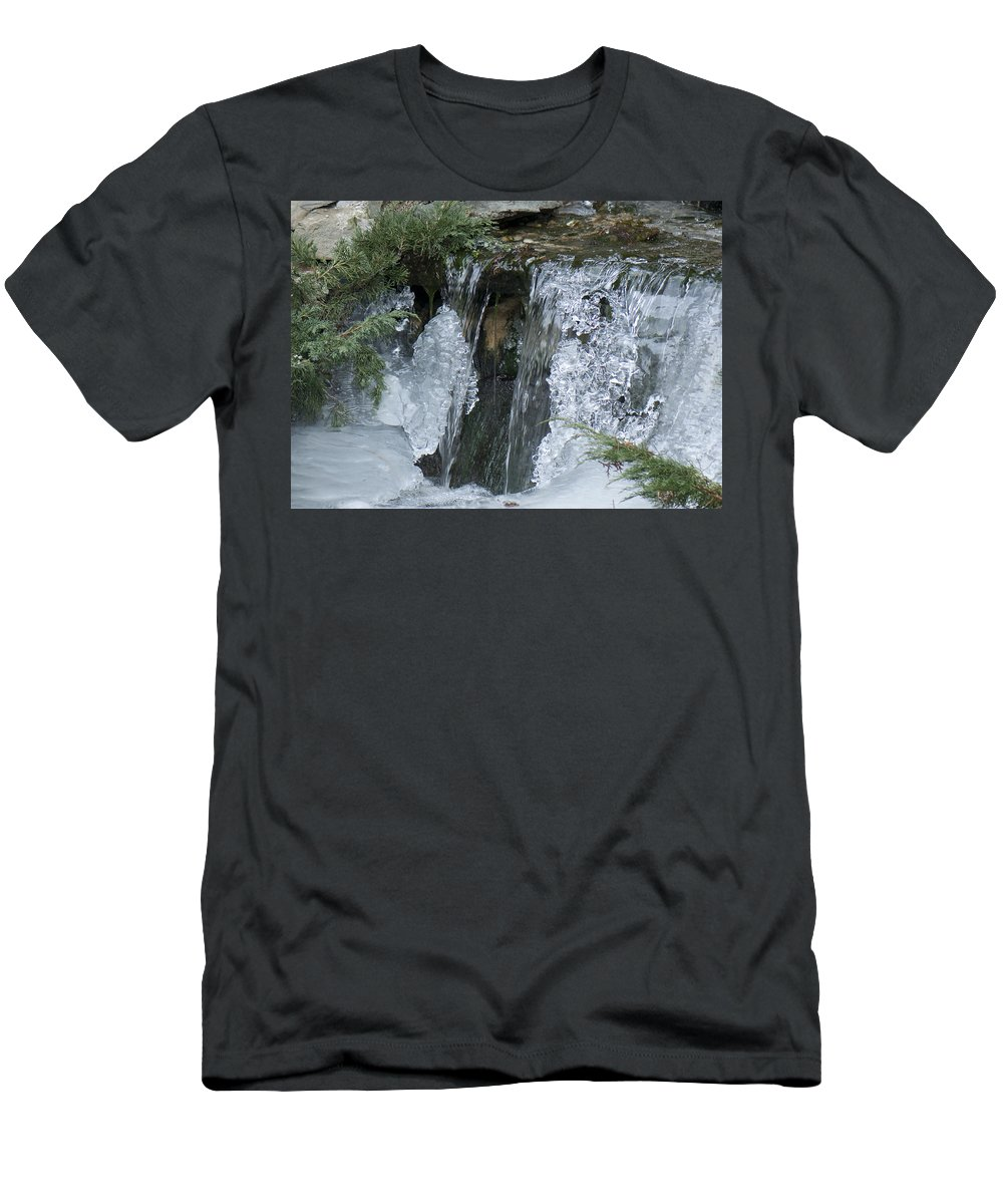 Koi Pond Men's T-Shirt (Athletic Fit) featuring the photograph Koi Pond Waterfall by Steven Natanson
