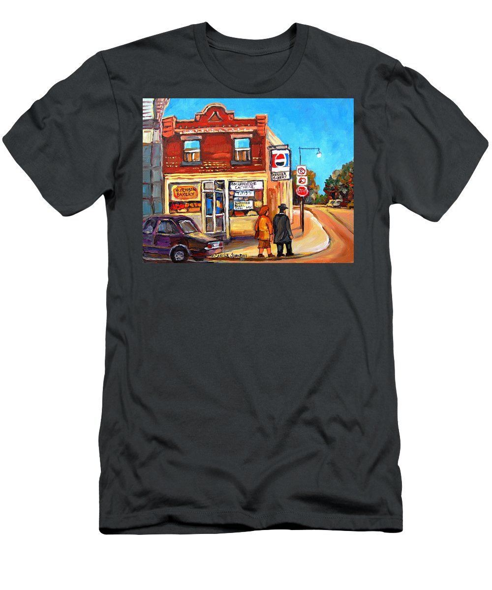 Kosher Bakery On Hutchison Men's T-Shirt (Athletic Fit) featuring the painting Kosher Bakery On Hutchison by Carole Spandau