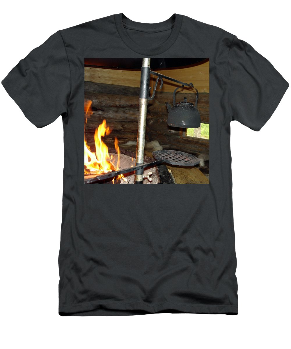 Kota Men's T-Shirt (Athletic Fit) featuring the photograph Kota Kitchen In Lapland by Merja Waters