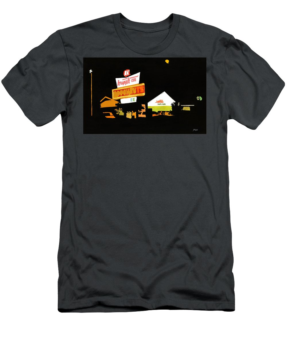 Donuts Men's T-Shirt (Athletic Fit) featuring the painting Krispy Kreme At Night by Tommy Midyette