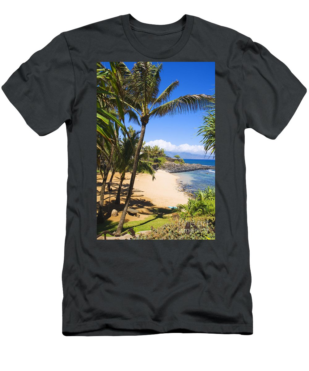 Beach Men's T-Shirt (Athletic Fit) featuring the photograph Kuau Cove by Ron Dahlquist - Printscapes