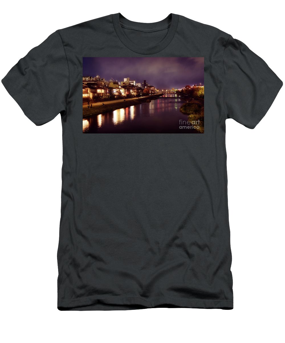 Kamo Men's T-Shirt (Athletic Fit) featuring the photograph Kyoto Nighttime City Scenery Of Kamo River With Street Lights Re by Awen Fine Art Prints