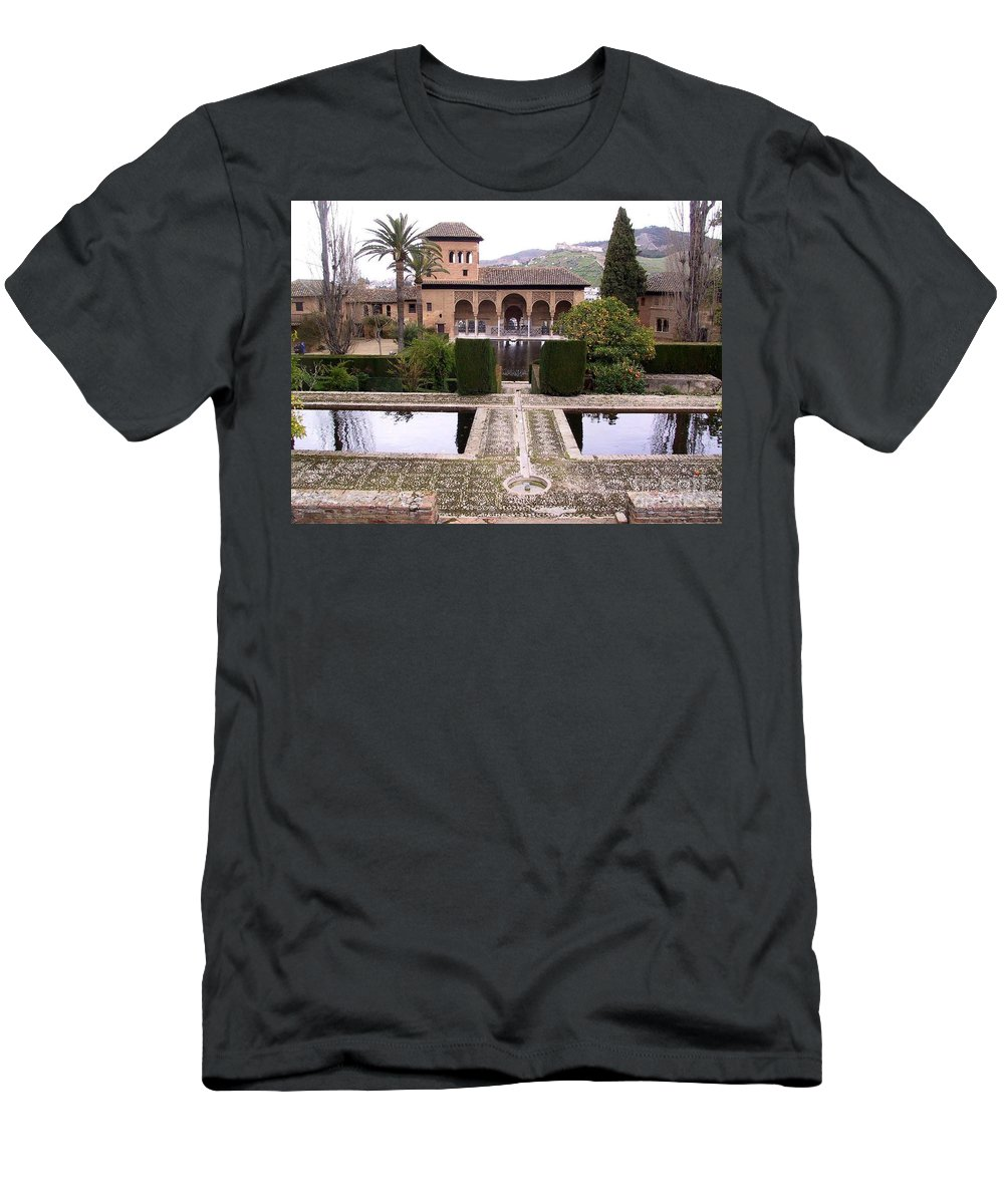 Alhambra Men's T-Shirt (Athletic Fit) featuring the photograph La Alhambra Garden by Thomas Marchessault