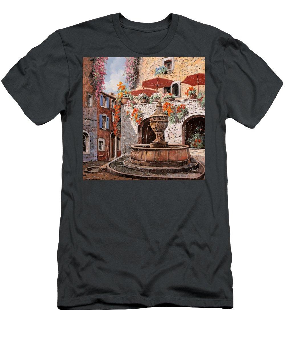 St Paul Men's T-Shirt (Athletic Fit) featuring the painting la fontana a St Paul de Vence by Guido Borelli