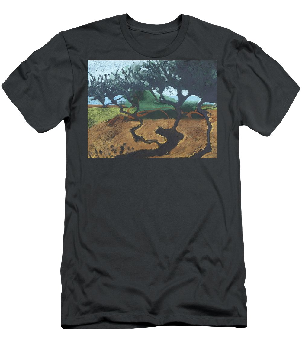 Contemporary Tree Landscape Men's T-Shirt (Athletic Fit) featuring the drawing La Jolla I by Leah Tomaino