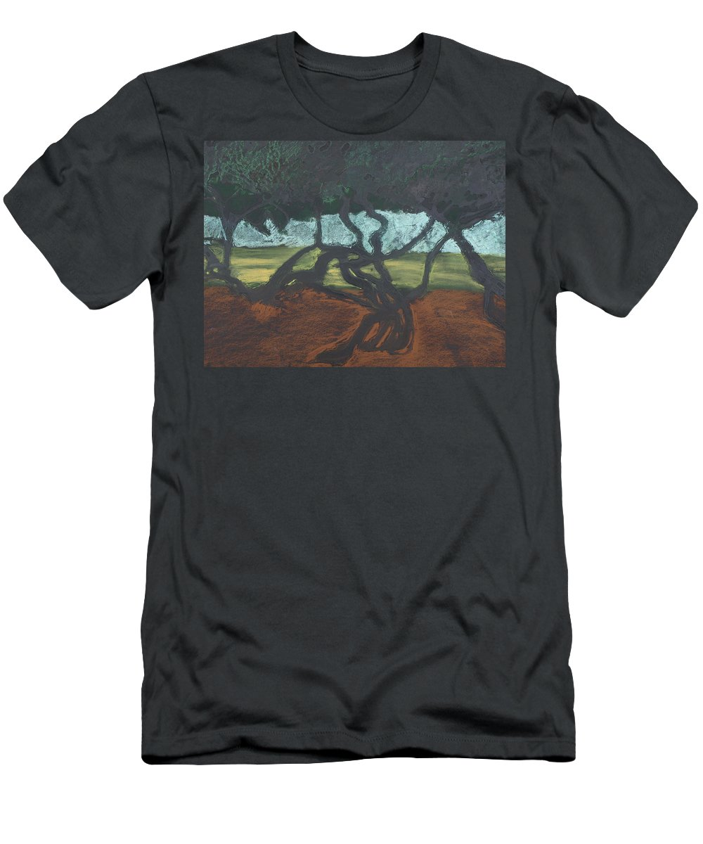 Contemporary Tree Landscape Men's T-Shirt (Athletic Fit) featuring the mixed media La Jolla II by Leah Tomaino
