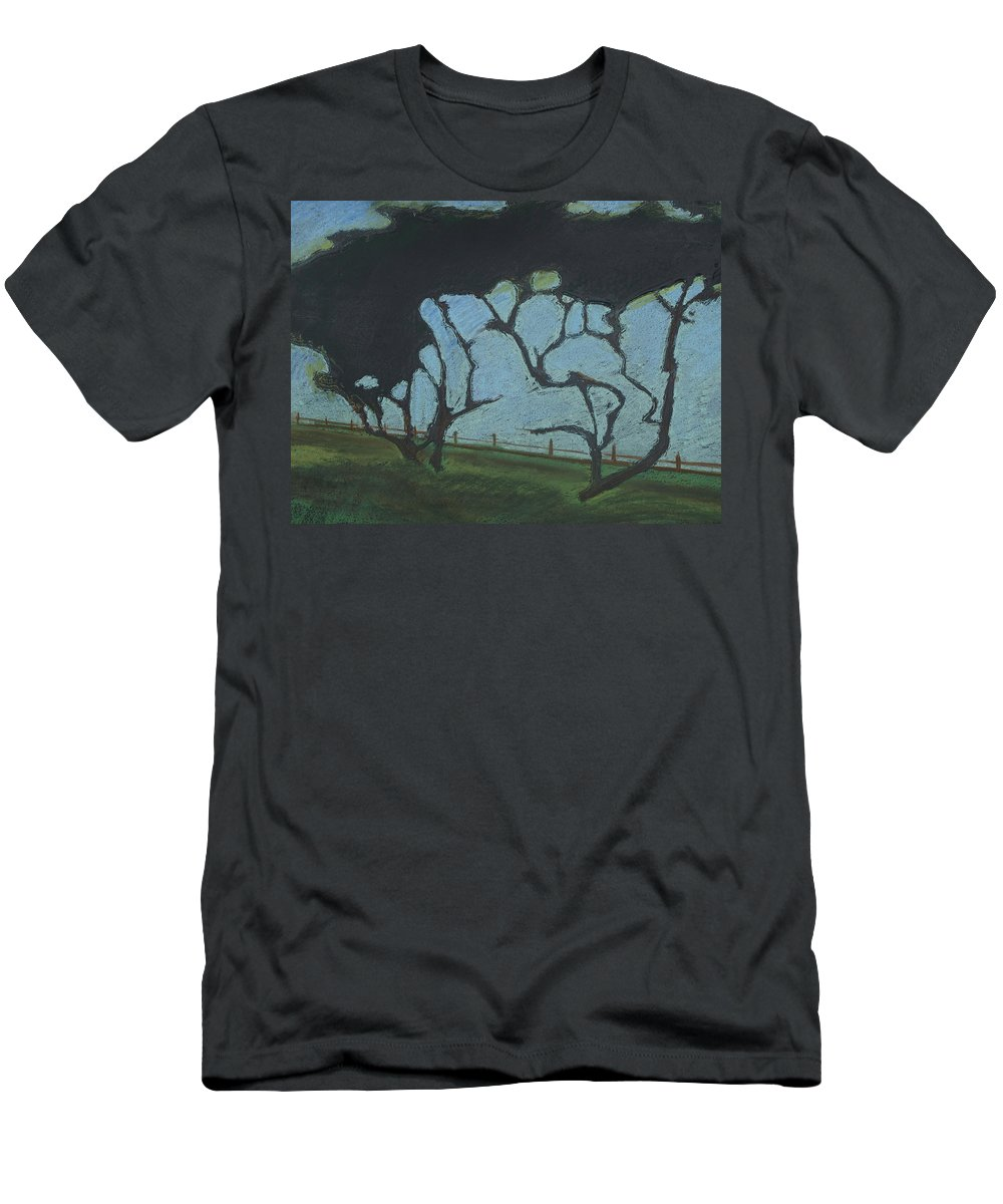 Contemporary Tree Landscape Men's T-Shirt (Athletic Fit) featuring the mixed media La Jolla IIi by Leah Tomaino