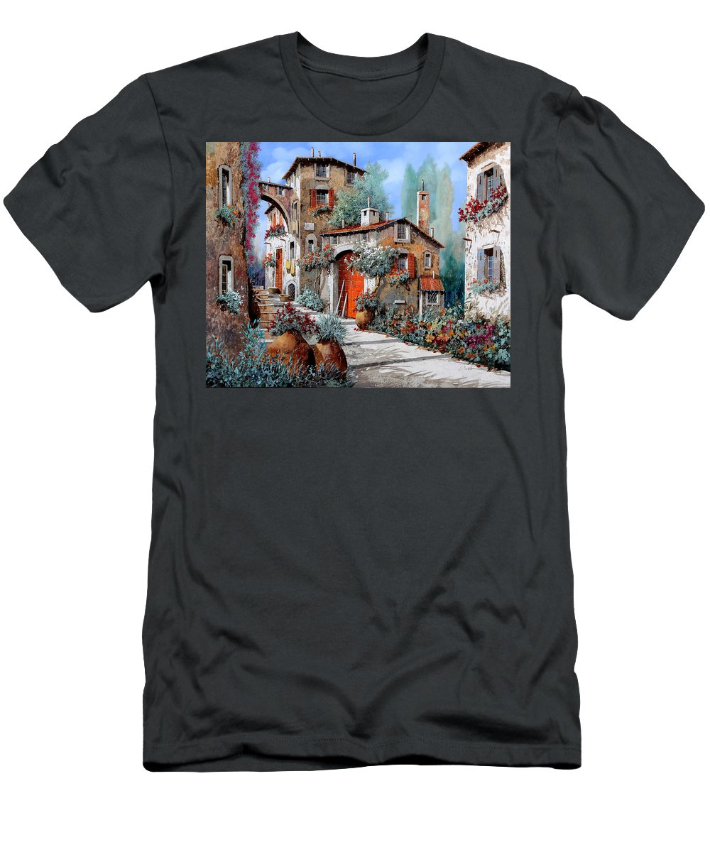 Red Door Men's T-Shirt (Athletic Fit) featuring the painting La Porta Rossa by Guido Borelli