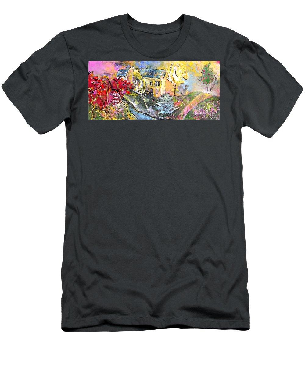 Landscape Painting Men's T-Shirt (Athletic Fit) featuring the painting La Provence 11 by Miki De Goodaboom