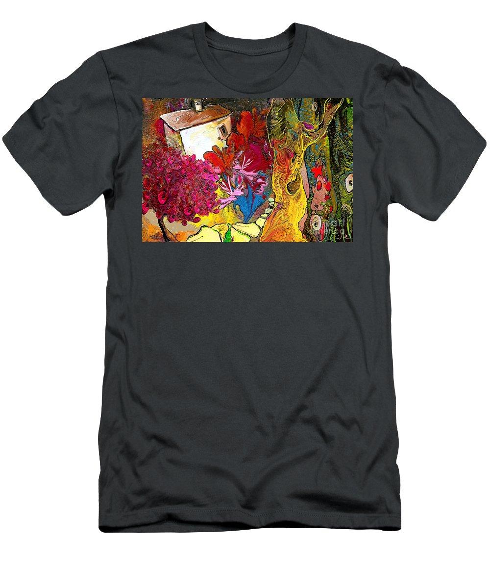 Landscape Painting Men's T-Shirt (Athletic Fit) featuring the painting La Provence 15 by Miki De Goodaboom