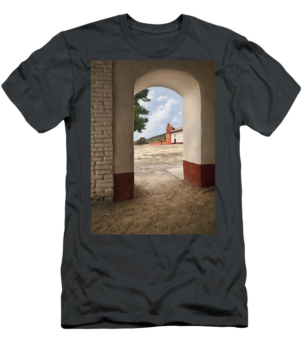 Mission Men's T-Shirt (Athletic Fit) featuring the digital art La Purisima Arch by Sharon Foster