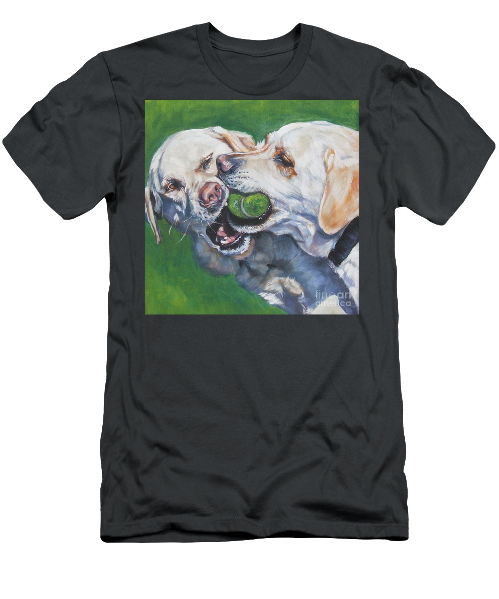 Dog Men's T-Shirt (Athletic Fit) featuring the painting Labrador Retriever Yellow Buddies by Lee Ann Shepard