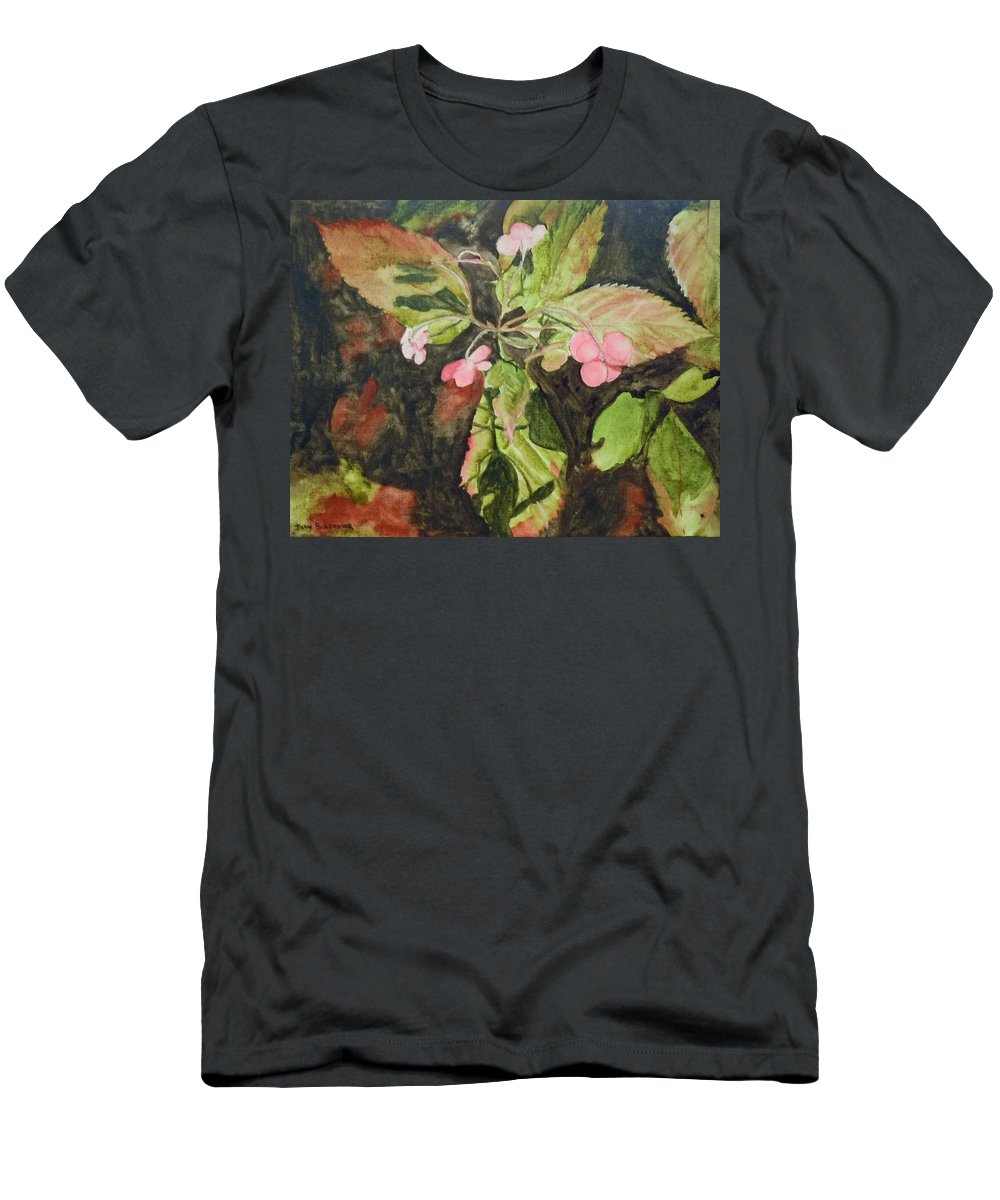 Flowers Men's T-Shirt (Athletic Fit) featuring the painting Lace Cap 1 by Jean Blackmer
