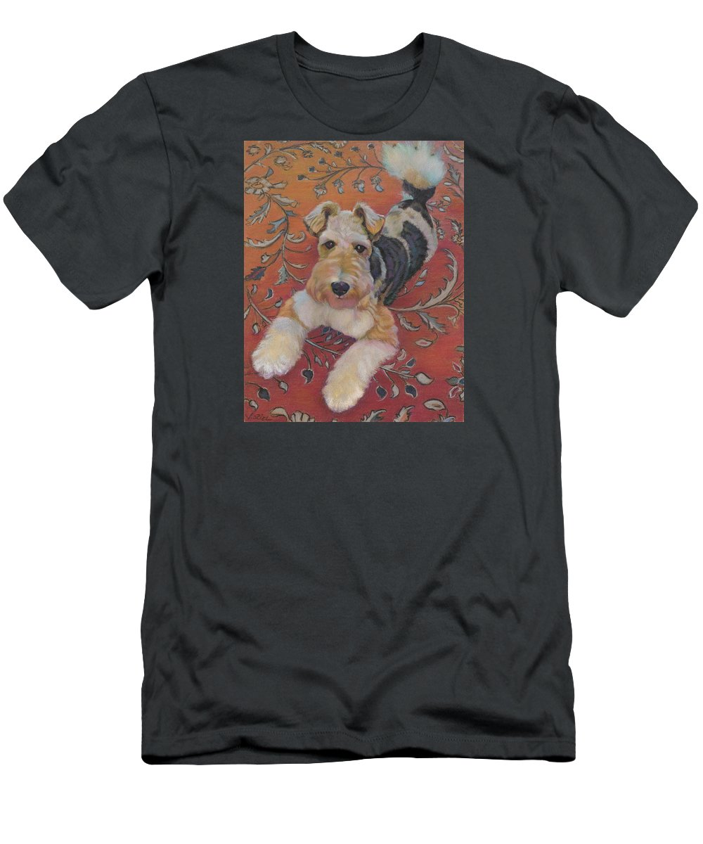Dog Portrait Men's T-Shirt (Athletic Fit) featuring the painting Wire-haried Fox Terrier by Jane Oriel