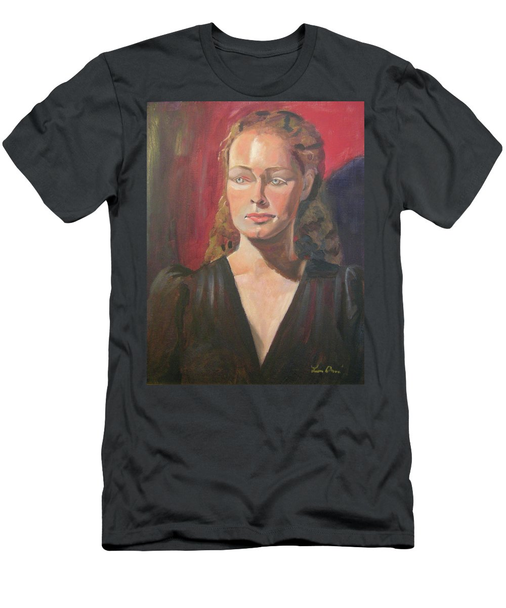 Portrait Men's T-Shirt (Athletic Fit) featuring the painting Lady Ann by Lilibeth Andre