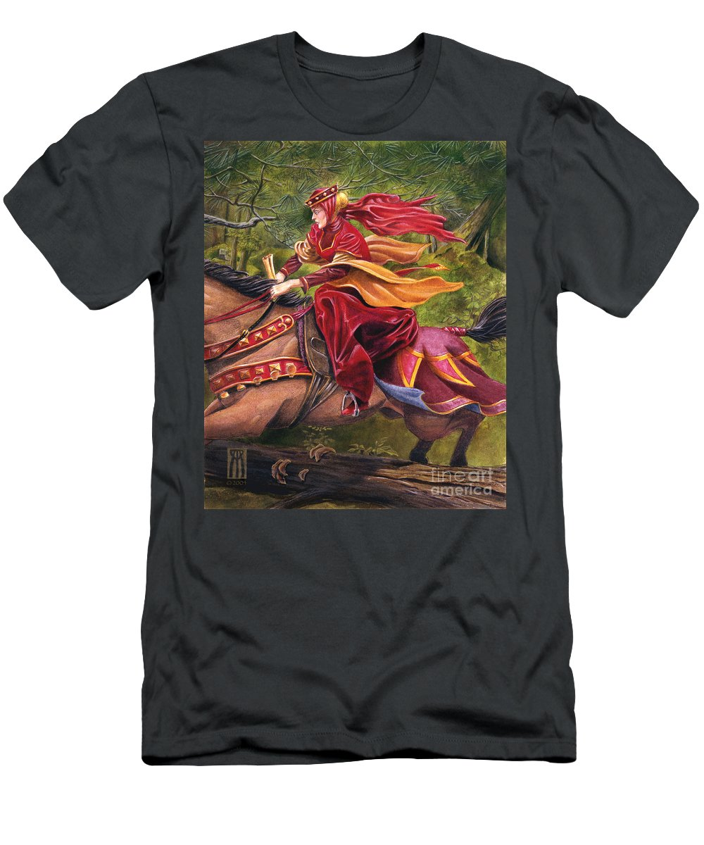 Camelot Men's T-Shirt (Athletic Fit) featuring the painting Lady Lunete by Melissa A Benson