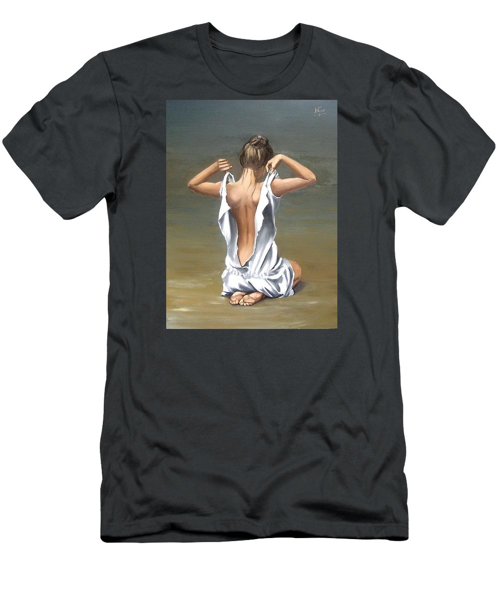 Lady Girl Woman Figurative Figure Nude Portrait Fine Art Female Men's T-Shirt (Athletic Fit) featuring the painting Lady by Natalia Tejera